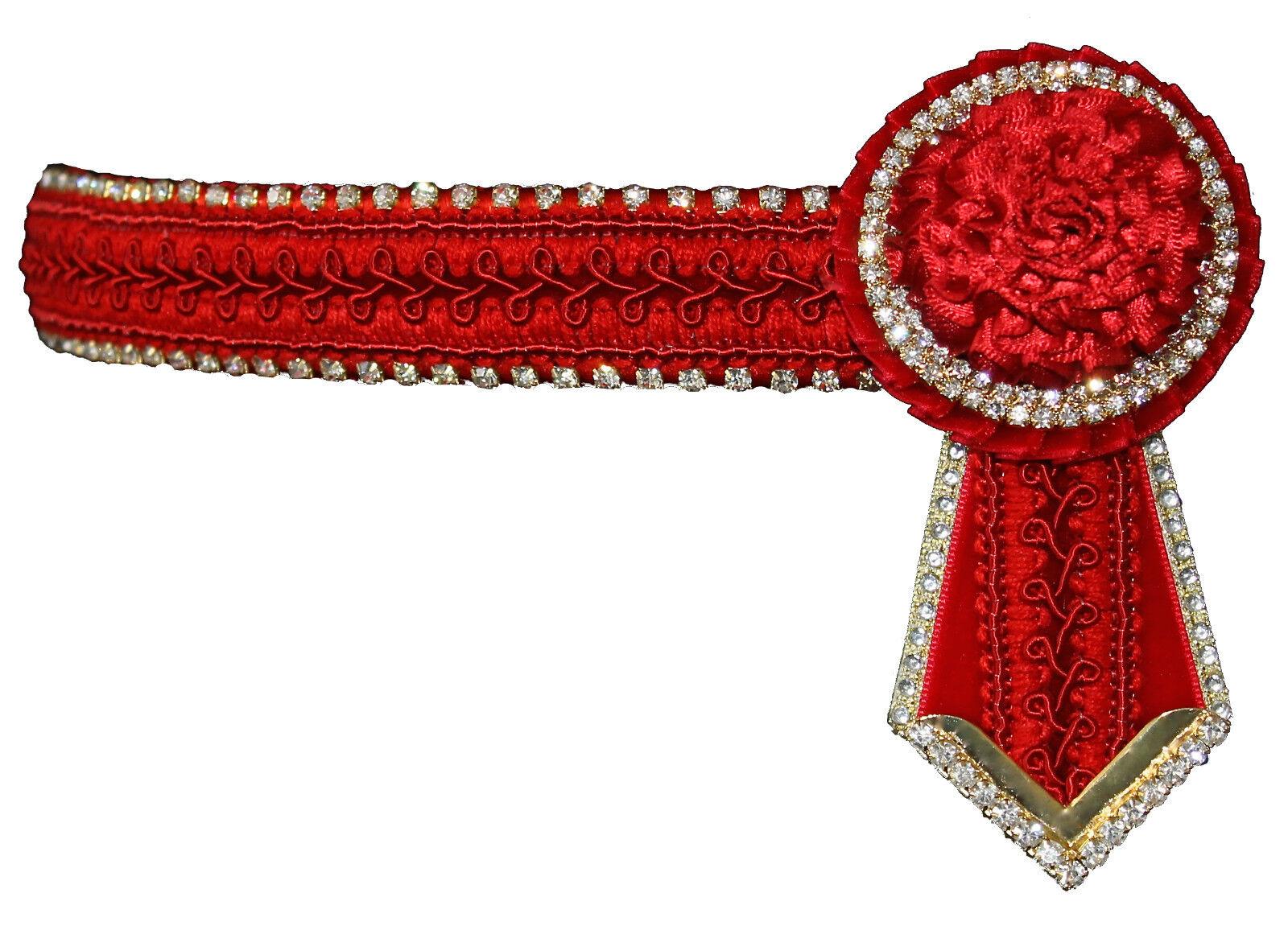 oro Rojo Claro Cristal Bling frontalera Mega Brillante mostrando Ecuestre Caballo Nuevo