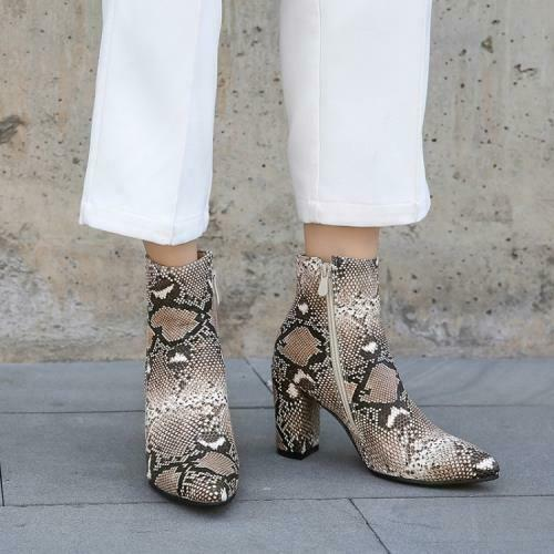 Details about  /Women Western Snakeskin Print Chelsea Pointy Toe Chunky 8.5cm Heel Ankle Boots L