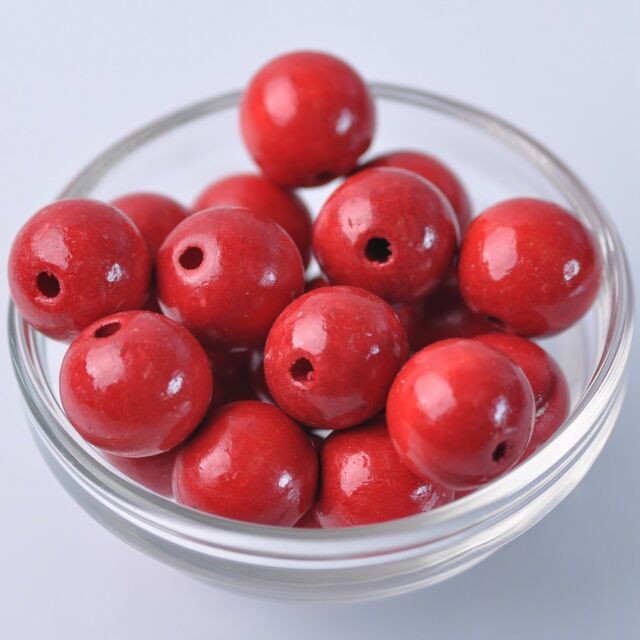 30pcs 18mm Red Round Natural Wood Loose Spacer Beads Wholesale Bulk Lot