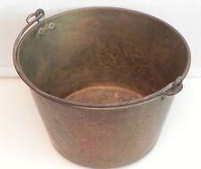 Antique Solid Copper Cauldron Kettle Jam Candy Preserve Pot w/ Handle Rustic Vtg