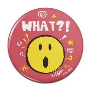 What Shocked Cute Smiley Face Licensed Pinback Button Pin Badge