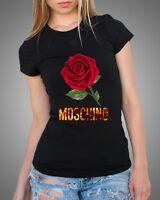 Black Sexy Women T-Shirt Top Tee Moschino Rose