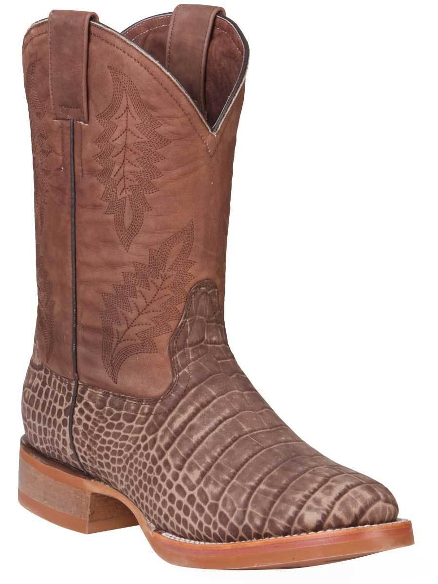 Western Boot Old Mejico Alligator Print Leather Brown ID 301138