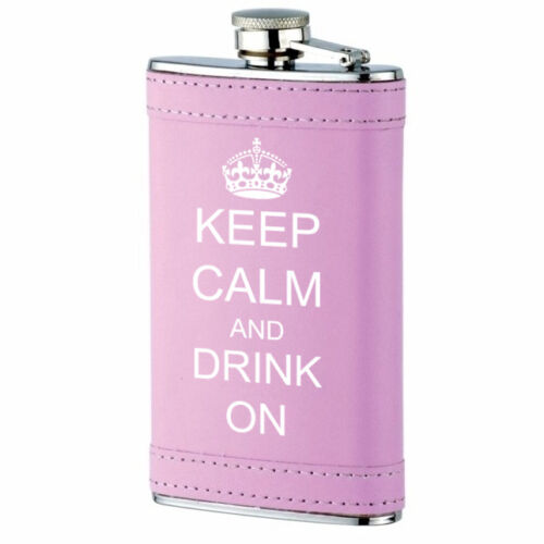 PINK LEATHER WRAPPED HIP FLASK 6OZ STAINLESS STEEL keep calm and drink on