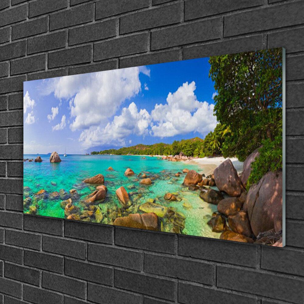 Image sur verre Tableau Impression 100x50 Paysage Pierres Mer Arbres