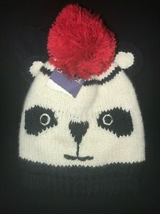 NWT The Childrens Place Girl Faux Fur Panda Hat /& Mittens Set