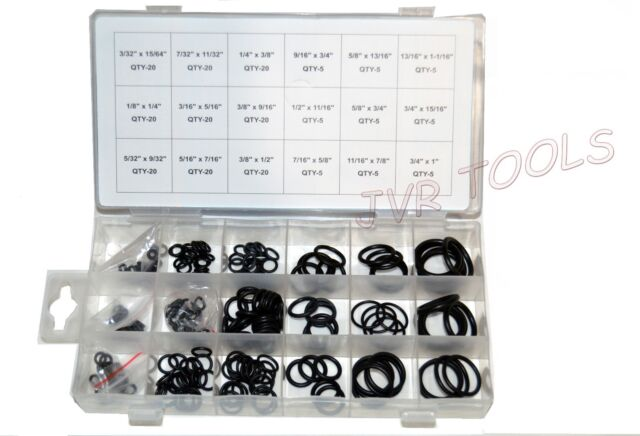 225pc O-Ring Rubber Assortment SAE Kit Tools Hydraulics Air Gas HVAC NEW
