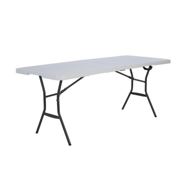 Lifetime 6 Fold In Half Light Commercial Grade Table White Granite