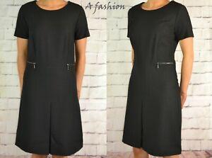 Prochain-Nouveau-UK-8-Tall-Femmes-Noir-une-ligne-robe