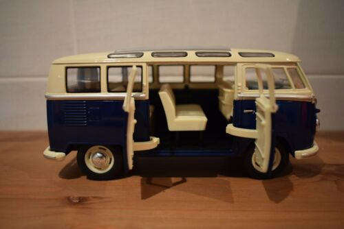 Pantalla dividida Diecast VW Camper van abriendo puertas Diecast Modelo libre Rolling 1//24