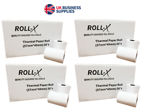 20-500 - 57x40mm Roll-X {Branded} Thermal Till Rolls Chip & Pin PDQ From £0.18p!