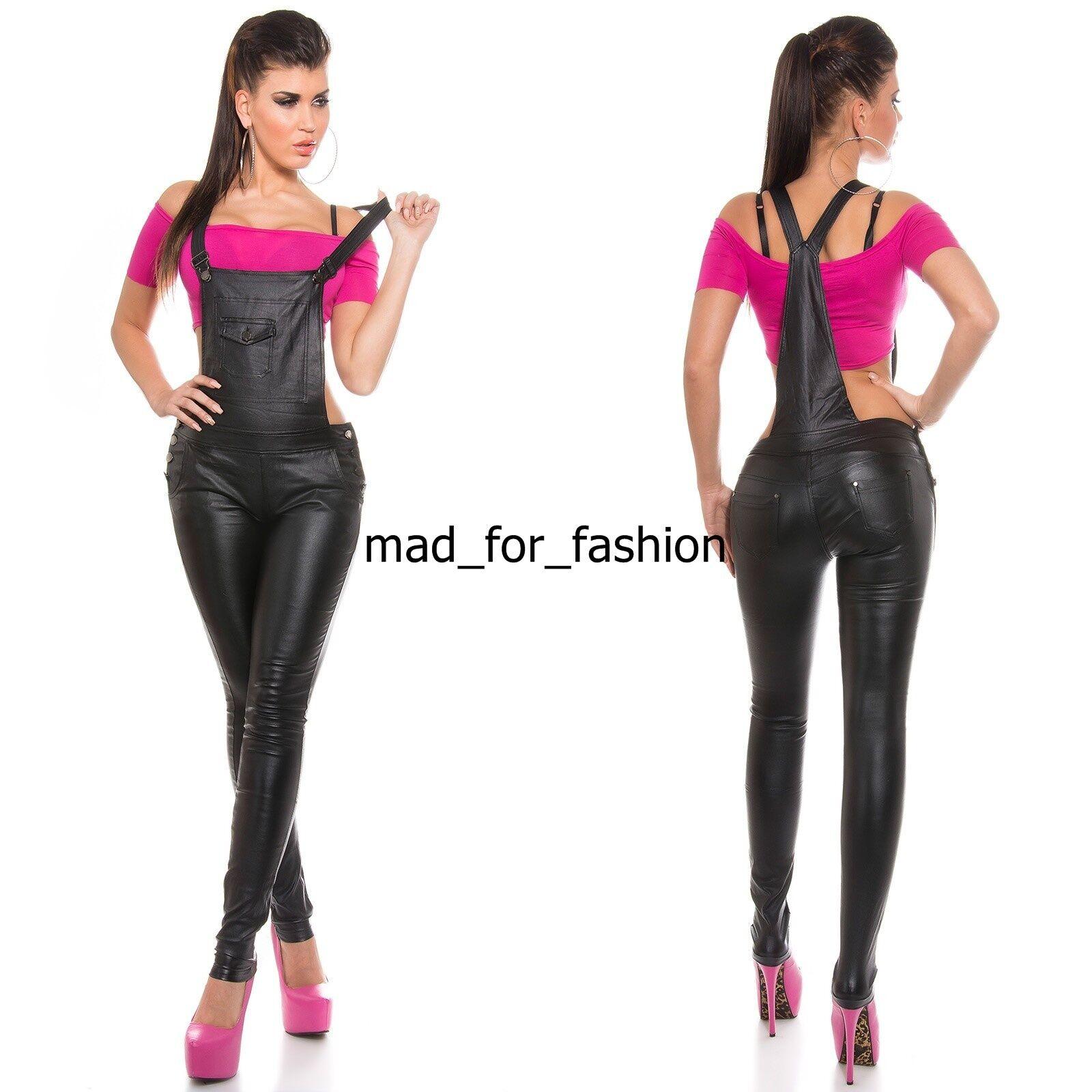 Sexy effetto cuoio black similpelle Salopette Pantaloni