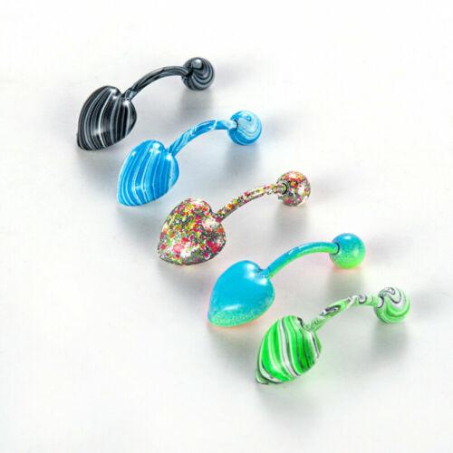 Womens Rhinestone Navel Rings Belly Button Bar Ring Dangle Body Piercing Jewelry