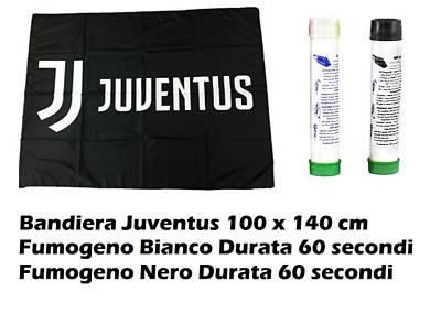 BANDIERA GIGANTE JUVE JUVENTUS cm 100 x 140 Fumogeno Nero Fumogeno Bianco