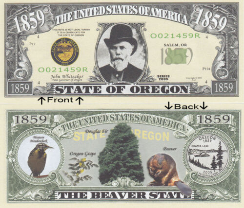 1859 U.S.A State of Oregon OR Novelty Notes Bills 1 5 25 50 100 500 or 1000
