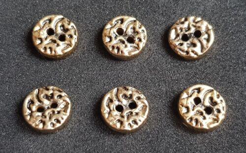 Lot de 6 x 11 mm or martelé 2 Trous Boutons De Couture Robe Chemisier Craft