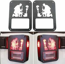 Pair Black Rear Taillight Cover Guard Fallen Soldier Logo Fits 07-18 Wrangler