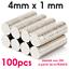 Lot de 100 Aimants Neodyme Petit Rond Puissant Neodymium Magnet Frigo 4mm x 1mm