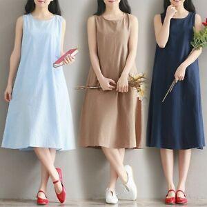 Damen Sommerkleid Baumwolle Leinen Massiv A Linie Knielang Armelloses Kleid Ebay