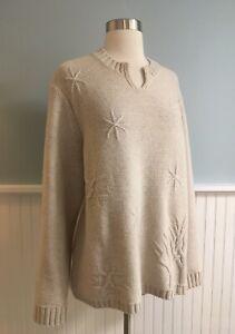 Size-XL-Women-s-Woolrich-Cream-100-Lambs-Wool-Sweater-Top-Winter-Extra-Large