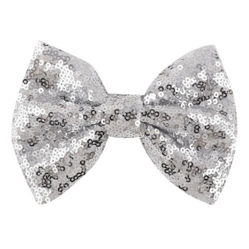 Fashion Lovely Baby Girl Sequin Handmade Hair Bow Tie With Clip New Xmas  ffvv