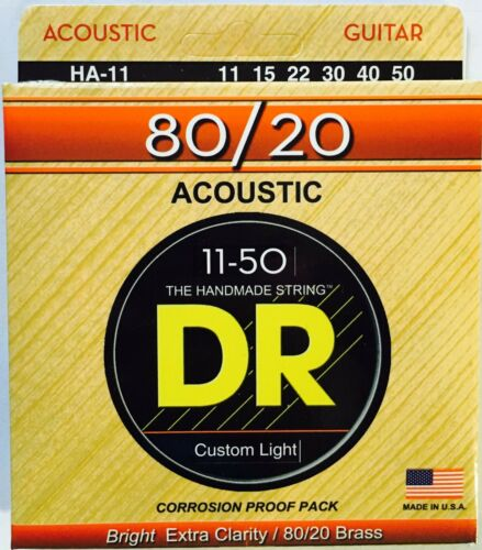 DR HA-11 Hi-Beam 80//20 Acoustic Guitar Strings 11-50 med lite