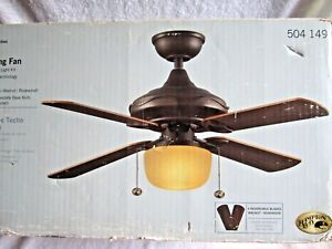 Details About Hampton Bay Courtney 42 Bronze Finish Ceiling Fan W Light New Old Stock