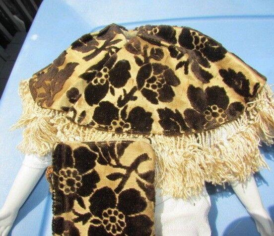 Antigua Muñeca ropa chal de terciopelo de seda con Monedero Victoriano 1800s Original