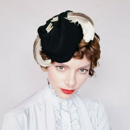 1940s Black Wool Cocktail Hat Feathers Oval New Yo
