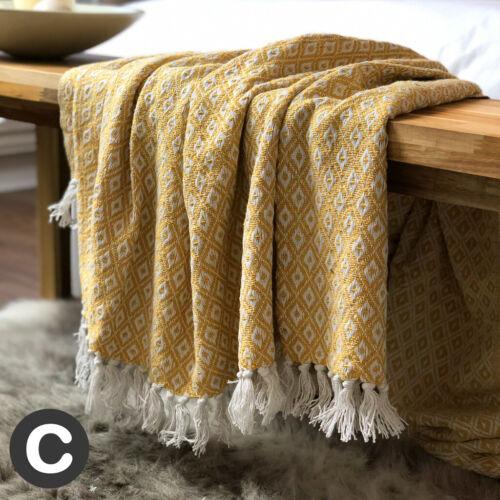Luxe 100/% Coton Eco jaune moutarde ocre Canapé Lit Fauteuil Throw Blanket franges