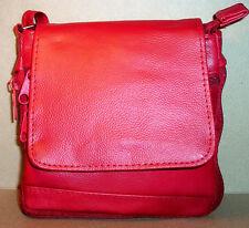 "Genuine Leather Handbag Shoulder Bag Purse Expandable 50"" 6"" x 6.5"" Small Red"