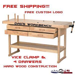 Hardwood Garage Workbench Work Table Clamp Vice Storage