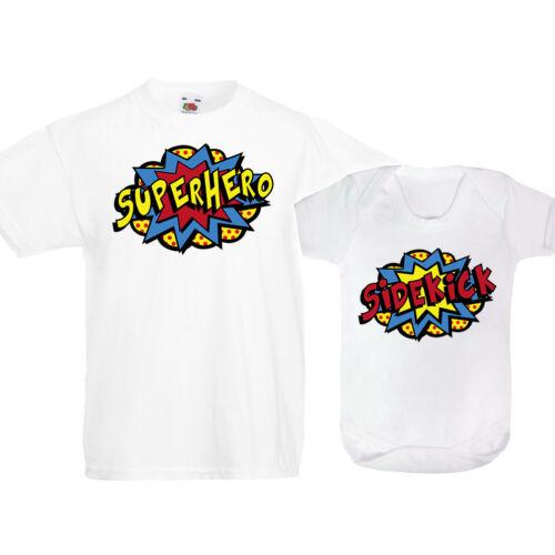 Superhero Sidekick T Shirt Vest Kids Funny Baby Brother Sister Christmas Gift
