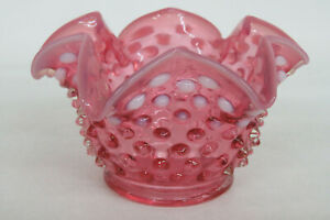 Fenton-Hobnail-Style-Pink-Cranberry-Opalescent-Glass-Small-Vase-979B