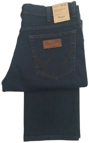BLUE BLACK MENS WRANGLER TEXAS STRETCH REGULAR FIT STRAIGHT LEG JEAN ZIP FLY