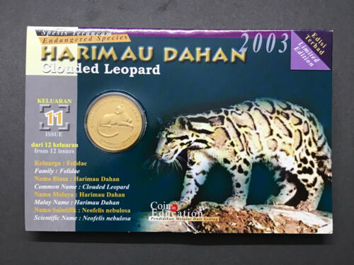 Card Coins Malaysia 25 Sen Animal Series 2003 Clouded Leopard booklet 11