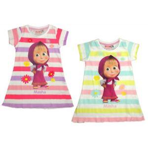 50b8c20c18c Girls Kids Masha And The Bear Summer 100% Cotton Dress Tunic Age 2-7 ...