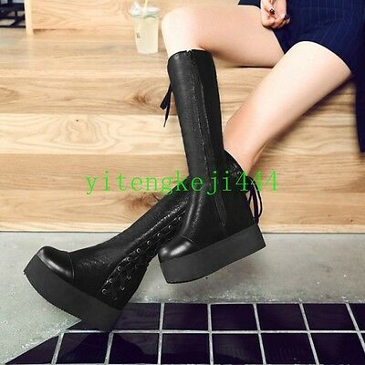 Women's Platform Goth Punk Combat Mid Calf Knee High Lace Up Military Boots New