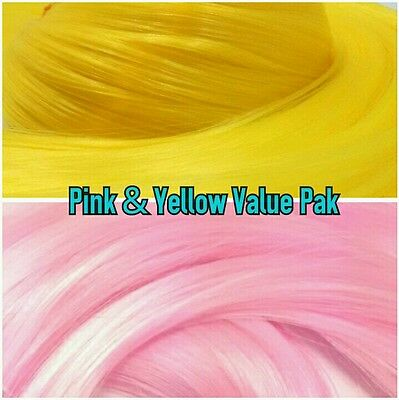 Pink /& Yellow XL 4oz 2 Color Value Pak Nylon Hair Hanks for Rooting MLP Dolls
