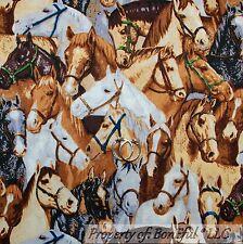 BonEful Fabric FQ Cotton Quilt VTG Brown HORSE Black Gray White B&W Country Club