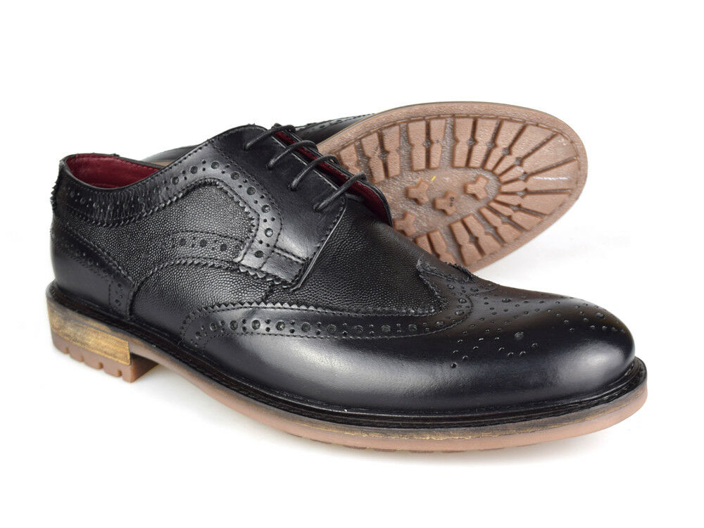 Silver Leather Street London Oxford Black Leather Silver Brogues 7d208c