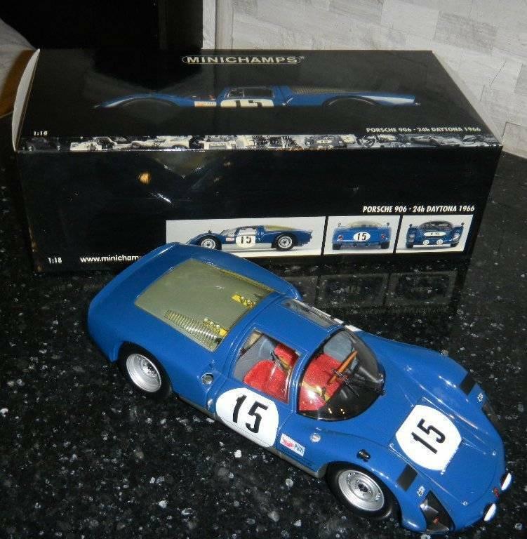 1 18 Minichamps Porsche 906  15 bluee Racing Car Die-cast 24 Hr Daytona Hermann