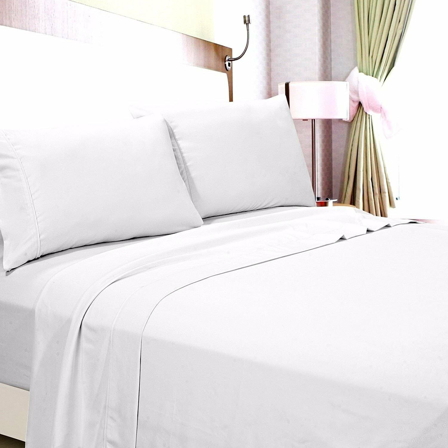 MODERN PURE COTTON LUXURIOUS BEDDING SET ALL SIZE WHITE SOLID 600 THREAD COUNT