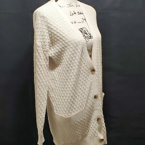 Hinge-Womens-Ivory-Open-Front-Knit-Lightweight-Long-2-Pocket-Cardigan-Size-S-M
