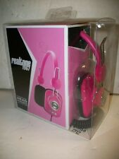 Pink Realtone 1967 Retro-Style Stereophonic Head Phones with Volume Knob