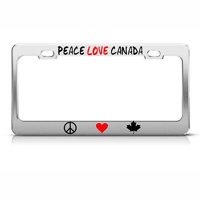 PEACE LOVE BUNNIES Chrome License Plate Frame Tag Border