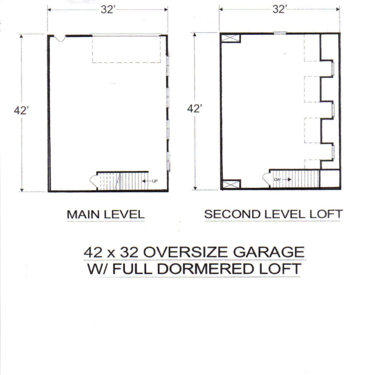 42 x 32 OverGrößed 3 - - - 4 stall Garage with DormeROT Loft Building Blauprint Plans 318f32