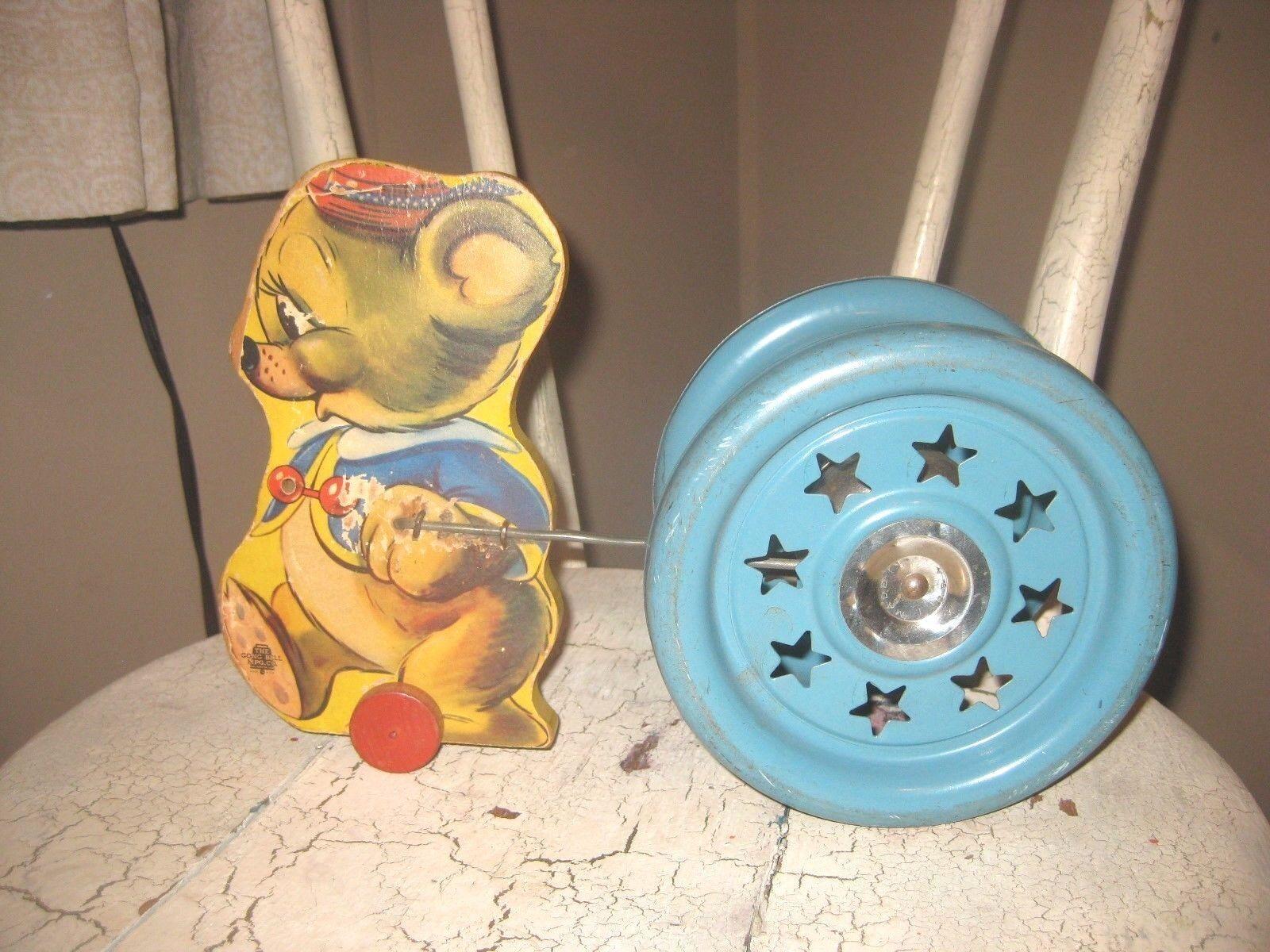 Antike klingeln sind 1940 boden zieht spielzeug, holz - maus - spielzeug - glocke