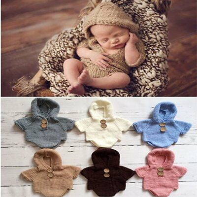 Costume Newborn Baby Romper Knit Crochet Hooded Outfit Photography Props