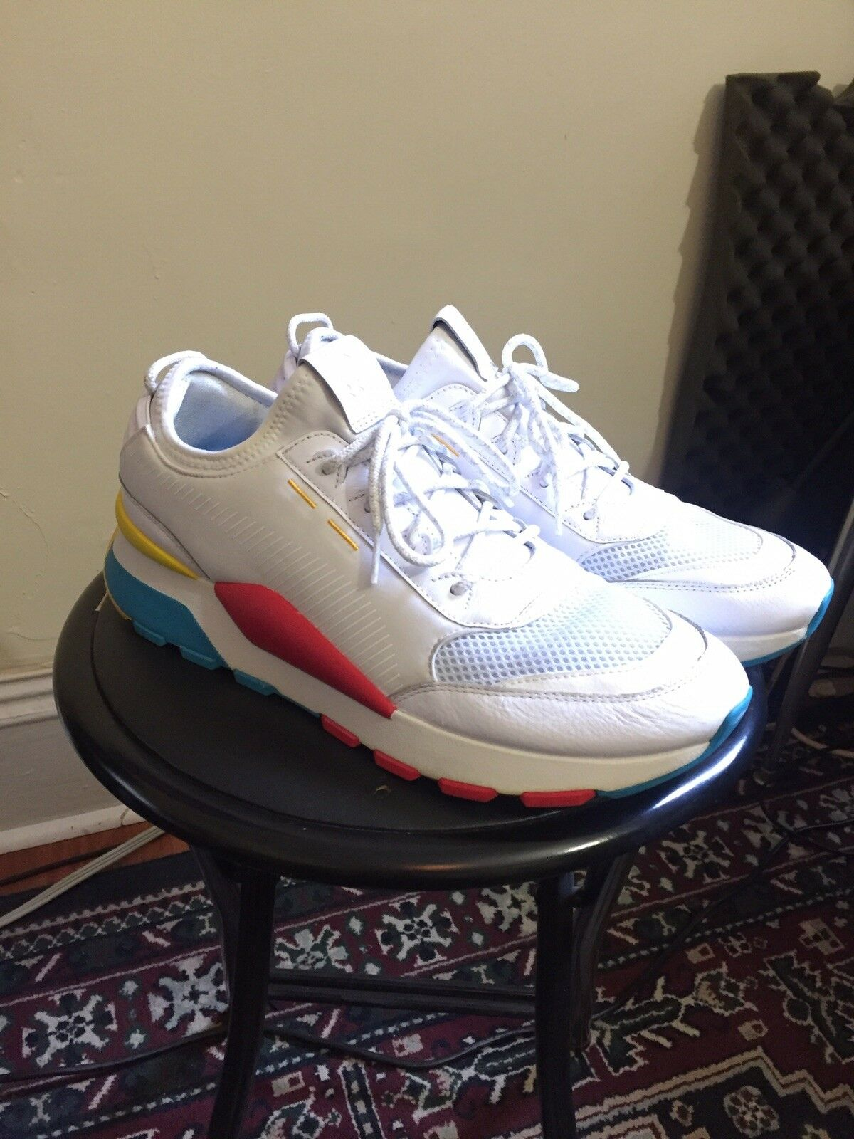 Puma RS 0 Play Sneakers White bluee Yellow Red Primary Sz 11 11.5 12 90s Sold out